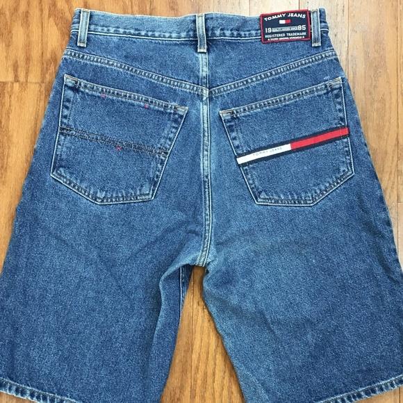 Men/'s Vintage 90/'s Tommy Hilfiger Light Wash Jean Denim Shorts Sz 31 VTG Retro Jorts